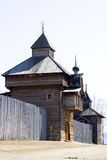 Towers of Ilim. Wooden protection enclosure of 16th century - one of the first russian settlement in the east siberia - on Angara and Ilim rivers (new Stock Image