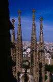 Towers of the incomplete Sagrada Familia church Royalty Free Stock Image