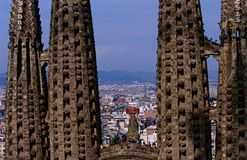 Towers of the incomplete Sagrada Familia church Royalty Free Stock Photos