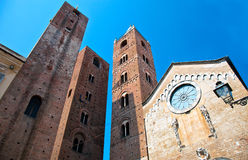 Towers in Italian Riviera. Three towers and the cathedral of Albenga in the talian Riviera Stock Images