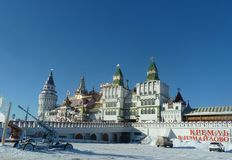 Towers of the Izmaylovo Kremlin in Moscow, Russia , winter stock photo