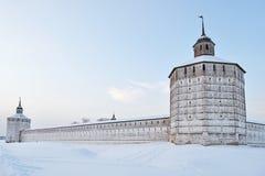 Towers of Kirillo-Belozersky monastery, Russia. Vologodskaya and Kuznechnaya towers of Kirillo-Belozersky monastery in winter time, Russia Stock Image