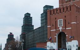 The towers of the Kremlin. On repair Stock Images