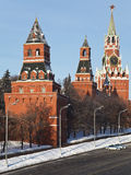 A towers of  Kremlin wall,  Moscow, Russia. View of a towers of  Kremlin wall from bridge,  Moscow, Russia Royalty Free Stock Image