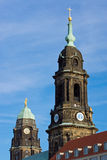 Towers of the Kreuzkirche and Townhall Stock Image