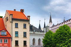 Towers Large and Small Guild in Riga stock image