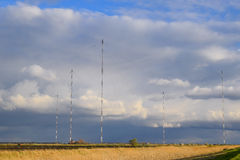 Towers of long-wave communication Goliath. Radio equipment for royalty free stock photos