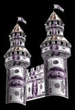 Towers made from dollars. This are high graceful towers and battlements of the castle Stock Photos