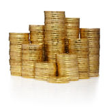 Towers made out of gold coins Stock Photo