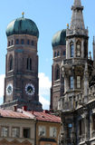 Towers of marien platz. Towers of frauenkirche and city hall on marien platz in munich,bavaria Stock Photo