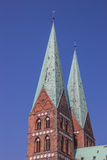 Towers of the Marienkirche in Lubeck Stock Photo