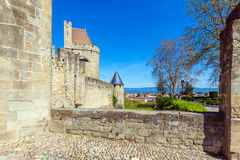 Towers of Medieval Castle, Carcassonne Royalty Free Stock Photos