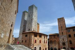Towers town of San Gimignano. Towers in the medieval Tuscan town of San Gimignano, Italy royalty free stock image