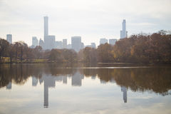 Towers metropolis of skyscrapers reflected in the pond Central P. Ark. Skyscrapers in the background in a blue haze background are trees and lake in the park Stock Images