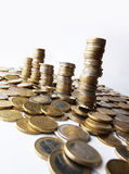 Towers of money stock image