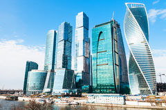 Towers of Moscow City business district in spring Stock Image