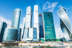 Towers of Moscow City office district in spring Stock Photo