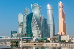 Towers Moscow City skyscrapers of the city. A beautiful futuristic landmark stock photography