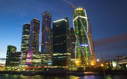 Towers of Moscow International Business Center with night illumination Royalty Free Stock Photos