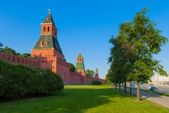 The towers of Moscow Kremlin stock photo