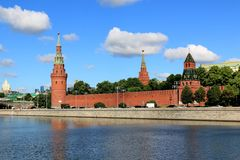 Towers of the Moscow Kremlin in June in the morning royalty free stock photography