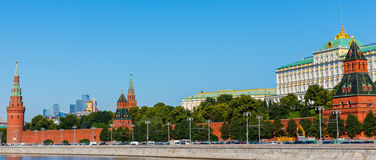 Towers of Moscow Kremlin Wall Royalty Free Stock Photography