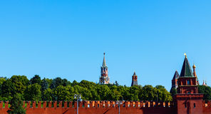 Towers of Moscow Kremlin Wall Royalty Free Stock Photo