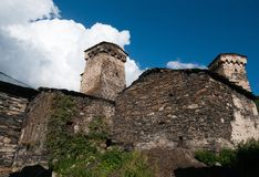 Towers in mountain village Royalty Free Stock Photos