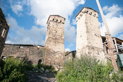 Towers in mountain village Stock Photos