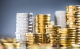 Free Towers Of The Euro Coins Stacked In Different Positions Stock Photography - 145749142