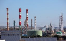 Towers in an oil refinery Royalty Free Stock Photos
