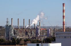 Towers in an oil refinery Royalty Free Stock Photography