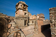 Towers and old buildings of indian Chitaurgarh Fort in India Stock Images