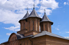 Towers of old church in Targoviste, Romania Stock Images