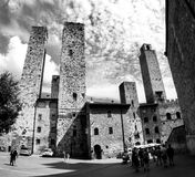 Towers and old palaces at San Gimignano BW Stock Images