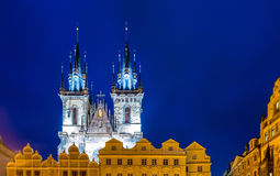 Towers at the old town square in Prague Royalty Free Stock Images