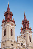 Towers of one orthodox church in Arad, Romania Royalty Free Stock Photo