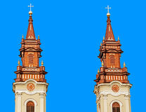 Towers of one orthodox church in Arad, Romania Royalty Free Stock Images