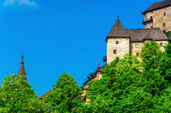 Towers of Orava Castle clear blue sky, Slovakia Royalty Free Stock Images