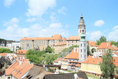 Towers and palace in Cesky Krumlov royalty free stock photos