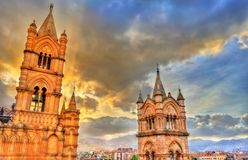 Towers of Palermo Cathedral at sunset - Sicily, Italy. Towers of Palermo Cathedral at sunset. A UNESCO heritage site in Sicily, Italy Royalty Free Stock Photography