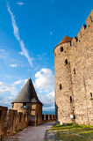 Towers path and walls of  Carcassonne medieval city Stock Photography