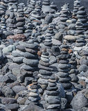 Towers from pebbles on the beach Stock Image