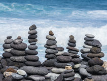 Towers from pebbles on the beach Royalty Free Stock Photo