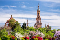 Towers of Plaza de Espana. Royalty Free Stock Photography