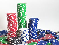 Towers of poker chips stock image