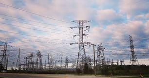 Electric Grid steel trees royalty free stock photos