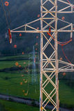Towers and power lines with diverter Royalty Free Stock Images