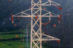 Towers and power lines with diverter Royalty Free Stock Photo