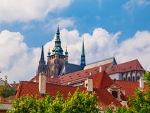 Towers of Prague Castle. Towers of St Vitus Cathedral, Prague Castle, Czech Republic stock photography